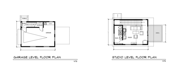 River View House Studio Garage floor plans by David Wright Architect