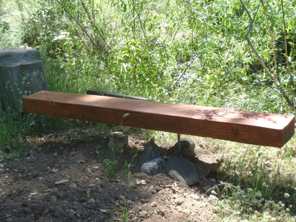 WOOD BENCH: wood & steel