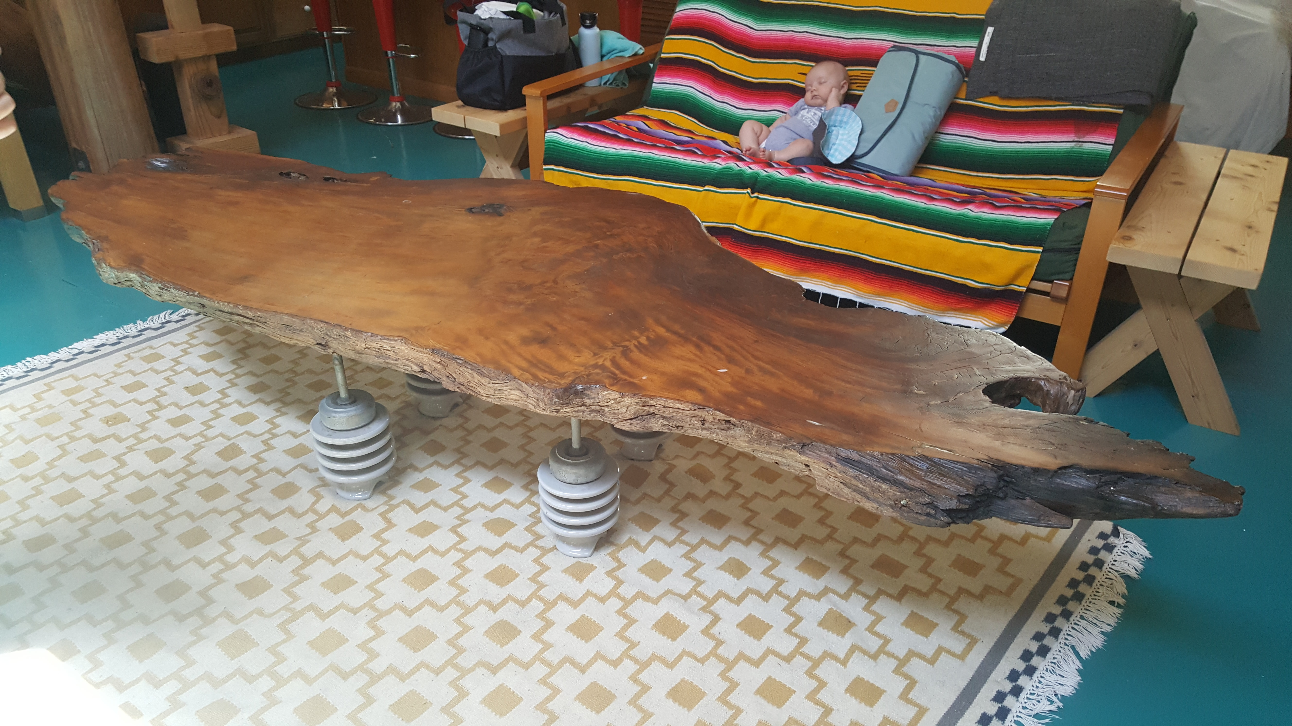 BURL TABLE: wood, ceramic, & steel
